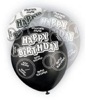 Black Glitz Happy Birthday Latex Balloons (6)